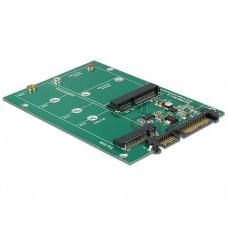 Delock konverter SATA 22 pin > 1 x M.2 NGFF + 1 x mSATA